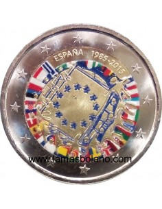 MONEDA 2 EUROS COLOR ESPAÑA 2015 - 30 AÑOS DE LA BANDERA DE LA UNION EUROPEA
